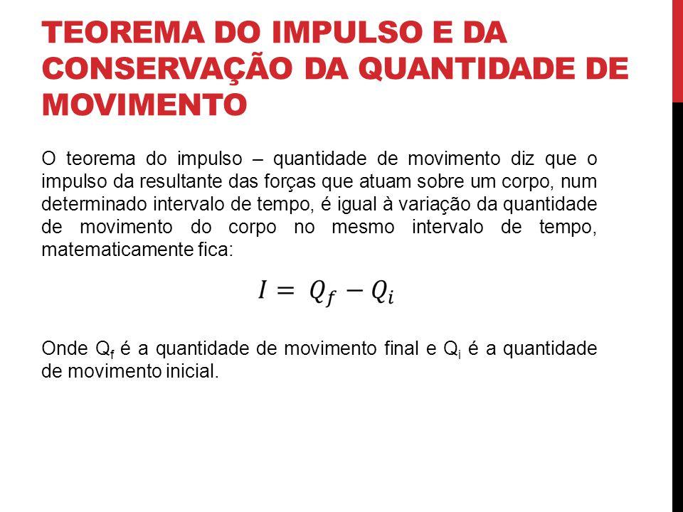 TEOREMA DO IMPULSO E DA CONSERVAÇÃO DA QUANTIDADE DE MOVIMENTO O teorema do impulso – quantidade de movimento diz que o impulso da resultante das forç