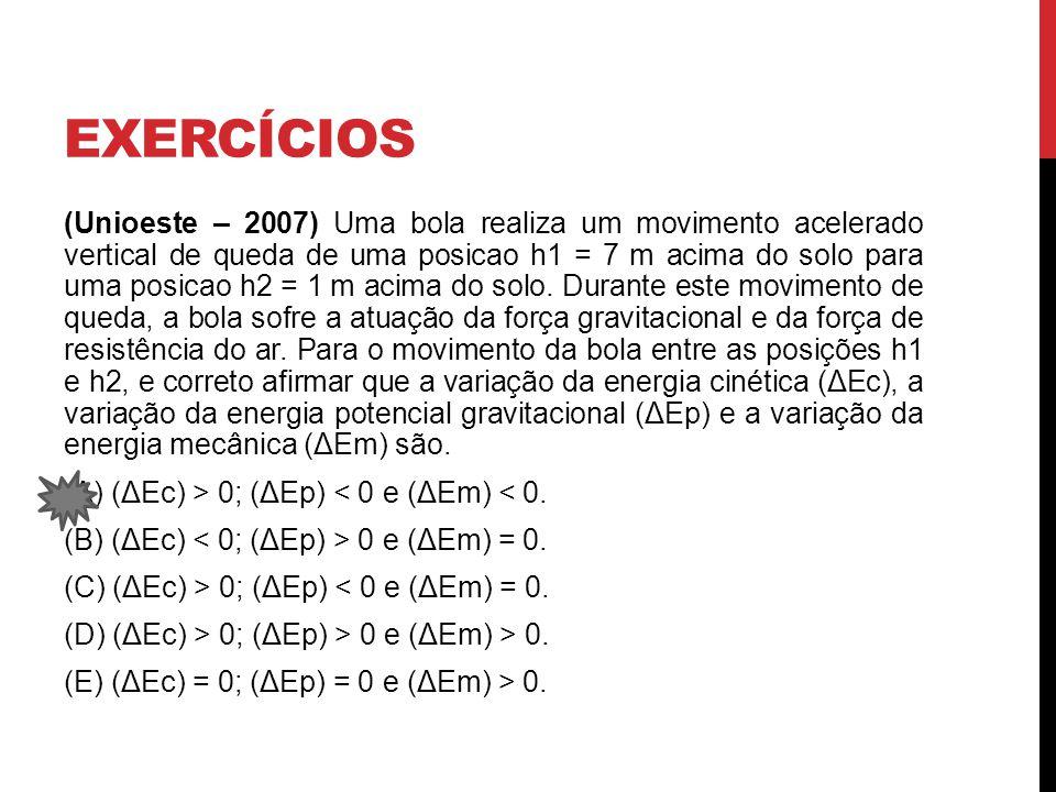 EXERCÍCIOS (Unioeste – 2007) Uma bola realiza um movimento acelerado vertical de queda de uma posicao h1 = 7 m acima do solo para uma posicao h2 = 1 m acima do solo.