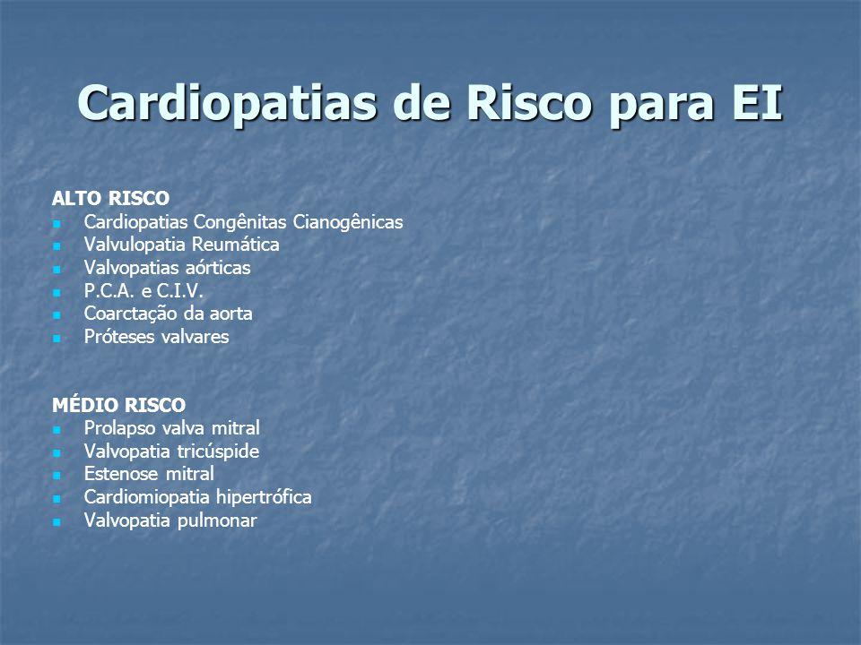 Cardiopatias de Risco para EI ALTO RISCO Cardiopatias Congênitas Cianogênicas Valvulopatia Reumática Valvopatias aórticas P.C.A. e C.I.V. Coarctação d