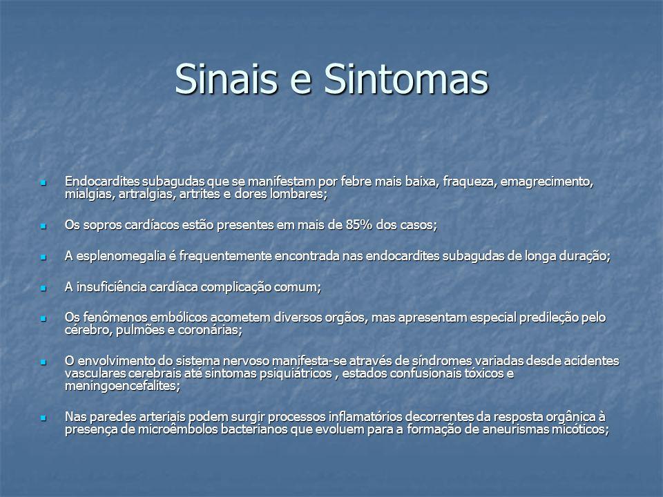 Sinais e Sintomas Endocardites subagudas que se manifestam por febre mais baixa, fraqueza, emagrecimento, mialgias, artralgias, artrites e dores lomba