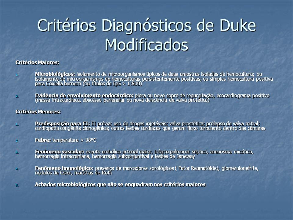 Critérios Diagnósticos de Duke Modificados Critérios Maiores: 1. Microbiológicos: isolamento de microorganismos típicos de duas amostras isoladas de h