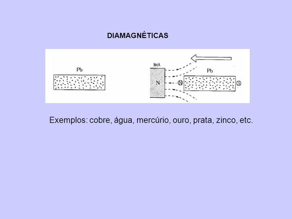 DIAMAGNÉTICAS Exemplos: cobre, água, mercúrio, ouro, prata, zinco, etc.