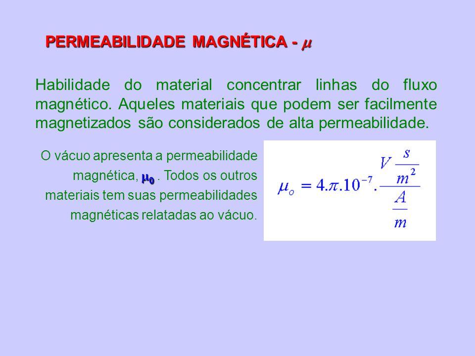 PERMEABILIDADE MAGNÉTICA - PERMEABILIDADE MAGNÉTICA - Habilidade do material concentrar linhas do fluxo magnético. Aqueles materiais que podem ser fac