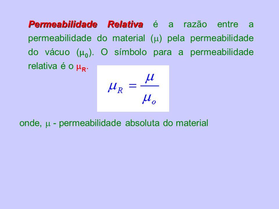 onde, - permeabilidade absoluta do material Permeabilidade Relativa Permeabilidade Relativa é a razão entre a permeabilidade do material ( ) pela permeabilidade do vácuo ( 0 ).