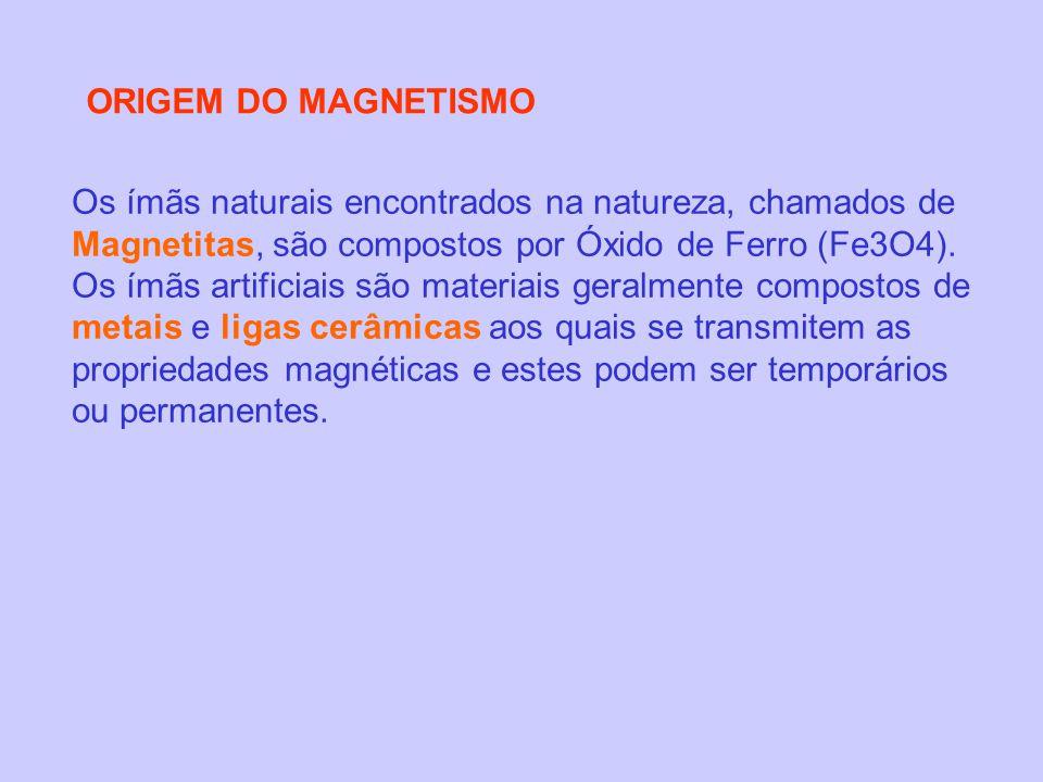 ORIGEM DO MAGNETISMO Os ímãs naturais encontrados na natureza, chamados de Magnetitas, são compostos por Óxido de Ferro (Fe3O4). Os ímãs artificiais s