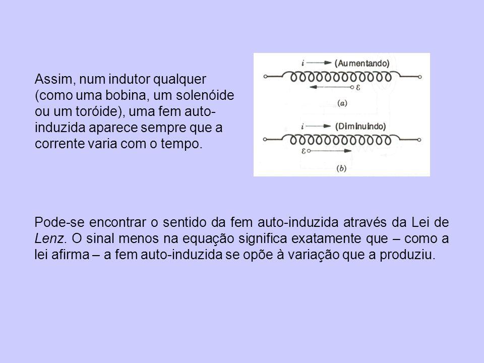 Assim, num indutor qualquer (como uma bobina, um solenóide ou um toróide), uma fem auto- induzida aparece sempre que a corrente varia com o tempo.