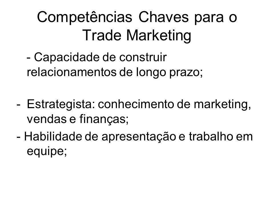 Competências Chaves para o Trade Marketing - Capacidade de construir relacionamentos de longo prazo; -Estrategista: conhecimento de marketing, vendas