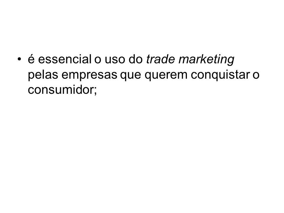 é essencial o uso do trade marketing pelas empresas que querem conquistar o consumidor;