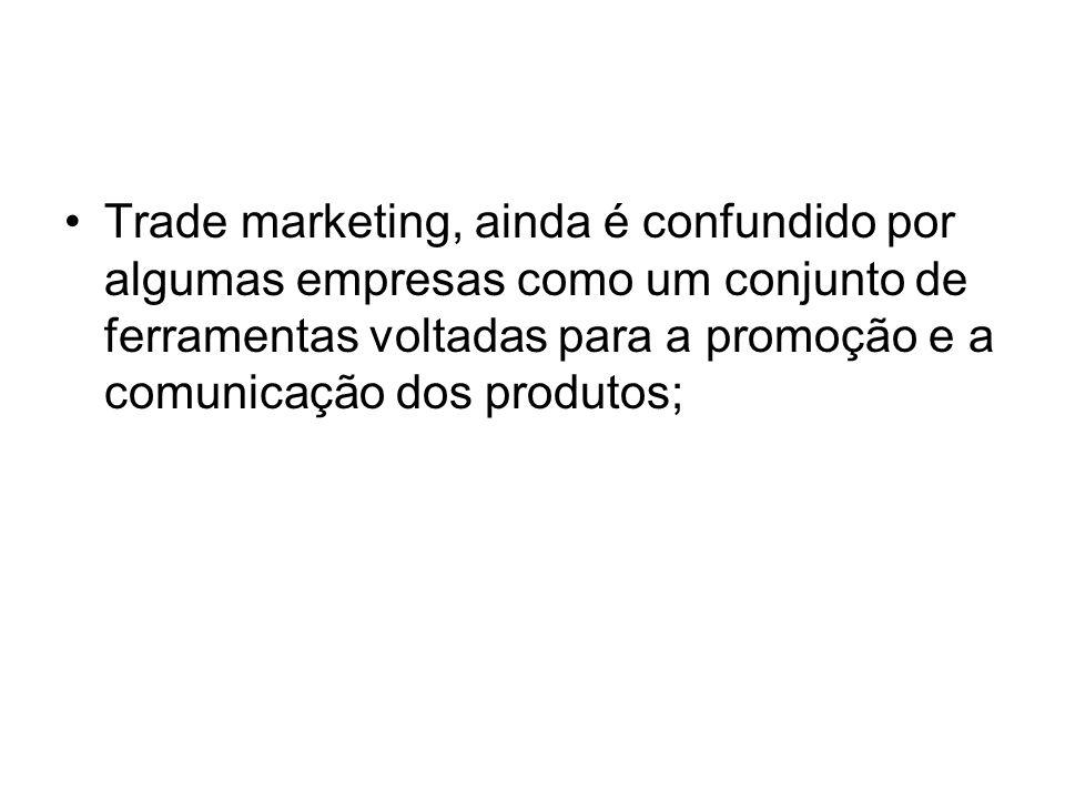 Trade marketing, ainda é confundido por algumas empresas como um conjunto de ferramentas voltadas para a promoção e a comunicação dos produtos;