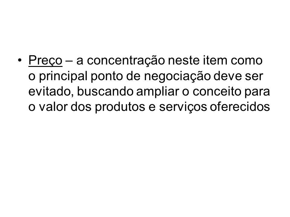 Preço – a concentração neste item como o principal ponto de negociação deve ser evitado, buscando ampliar o conceito para o valor dos produtos e servi