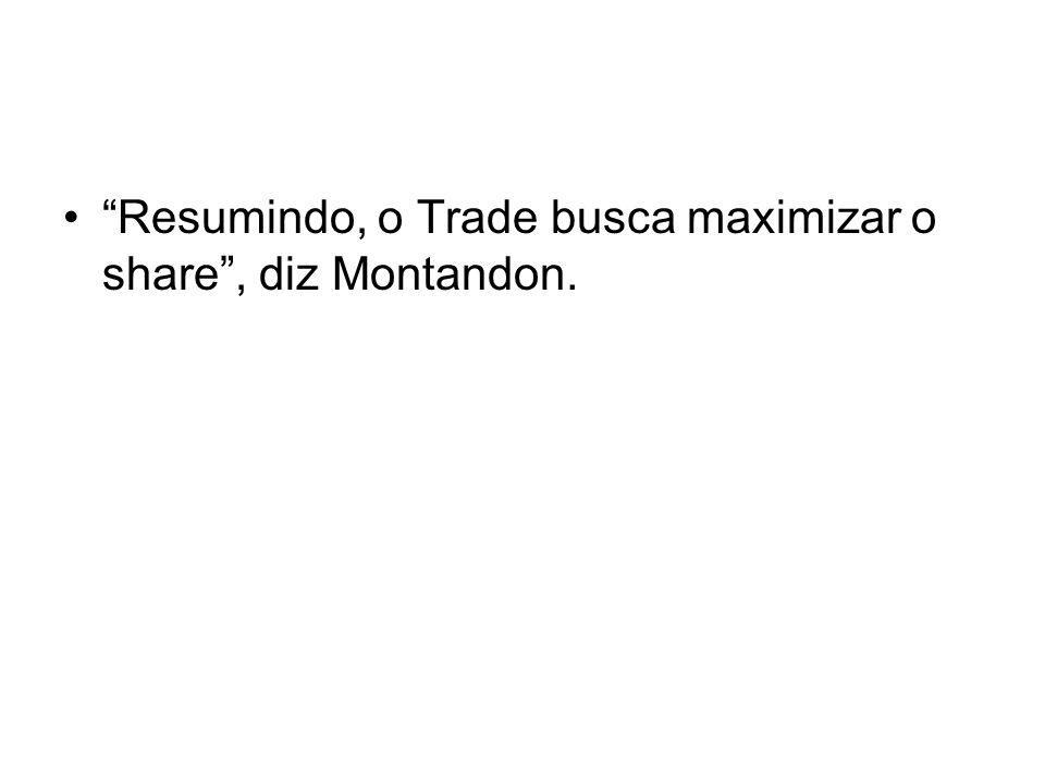 Resumindo, o Trade busca maximizar o share, diz Montandon.