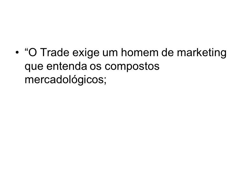 Competências Chaves para o Trade Marketing Capacidade de construir relacionamentos de longo prazo; Estrategista: conhecimento de marketing, vendas e finanças; Foco no cliente e cultura de serviço;