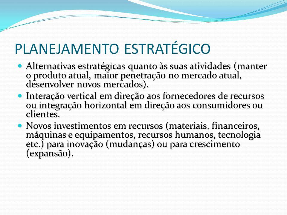 PLANEJAMENTO ESTRATÉGICO Alternativas estratégicas quanto às suas atividades (manter o produto atual, maior penetração no mercado atual, desenvolver n