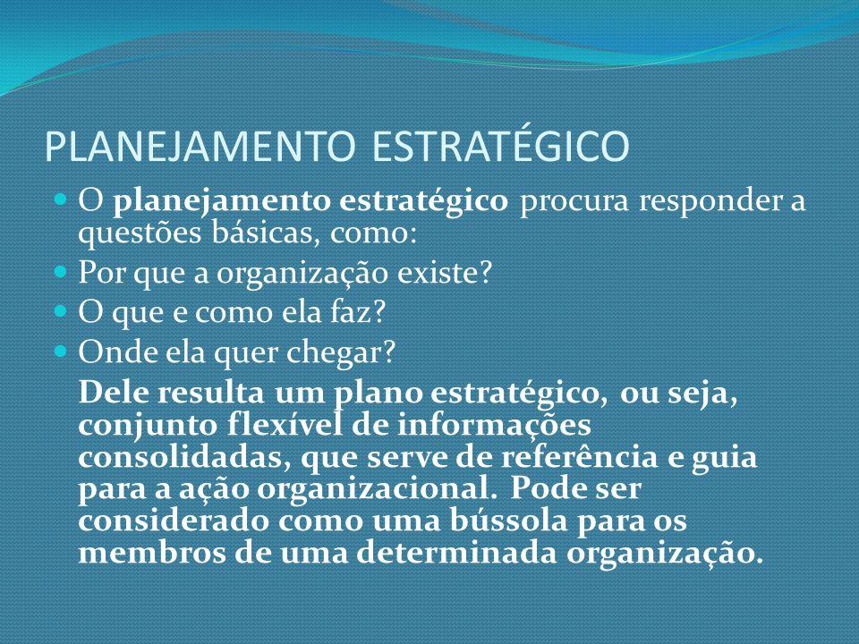 PLANEJAMENTO ESTRATÉGICO O planejamento estratégico procura responder a questões básicas, como: Por que a organização existe? O que e como ela faz? On