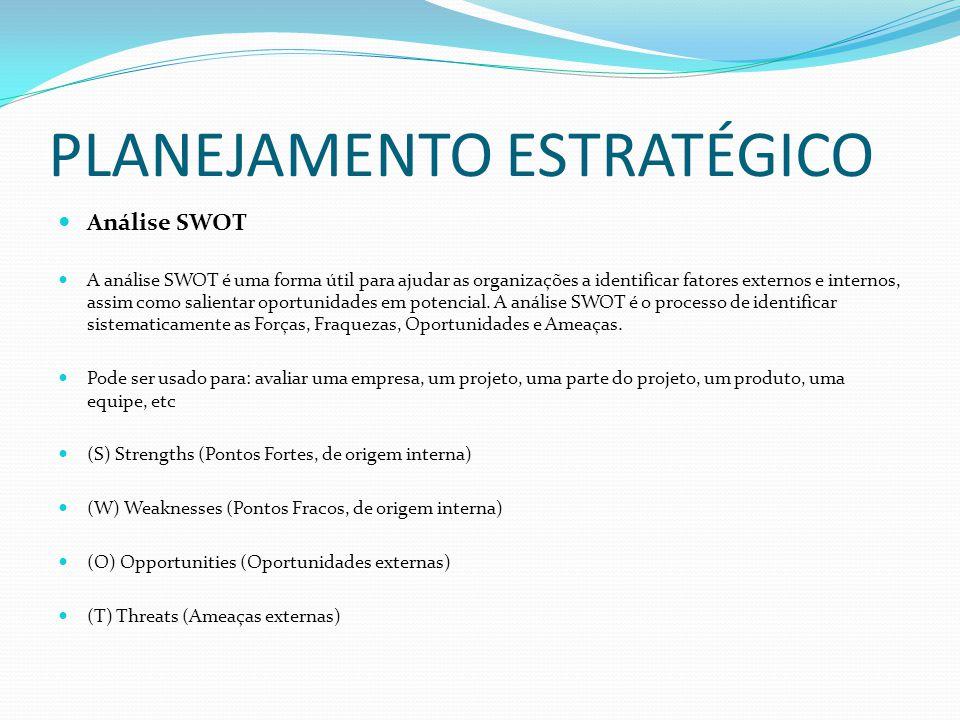 PLANEJAMENTO ESTRATÉGICO Análise SWOT A análise SWOT é uma forma útil para ajudar as organizações a identificar fatores externos e internos, assim com