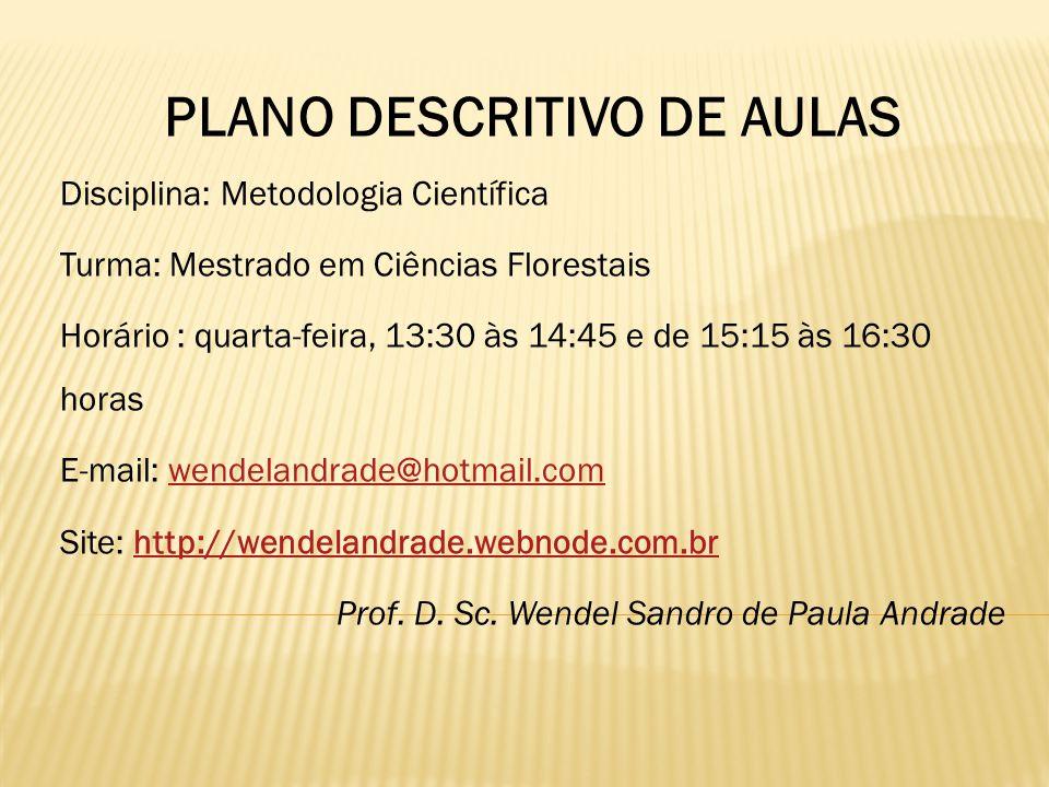 PLANO DESCRITIVO DE AULAS Disciplina: Metodologia Científica Turma: Mestrado em Ciências Florestais Horário : quarta-feira, 13:30 às 14:45 e de 15:15