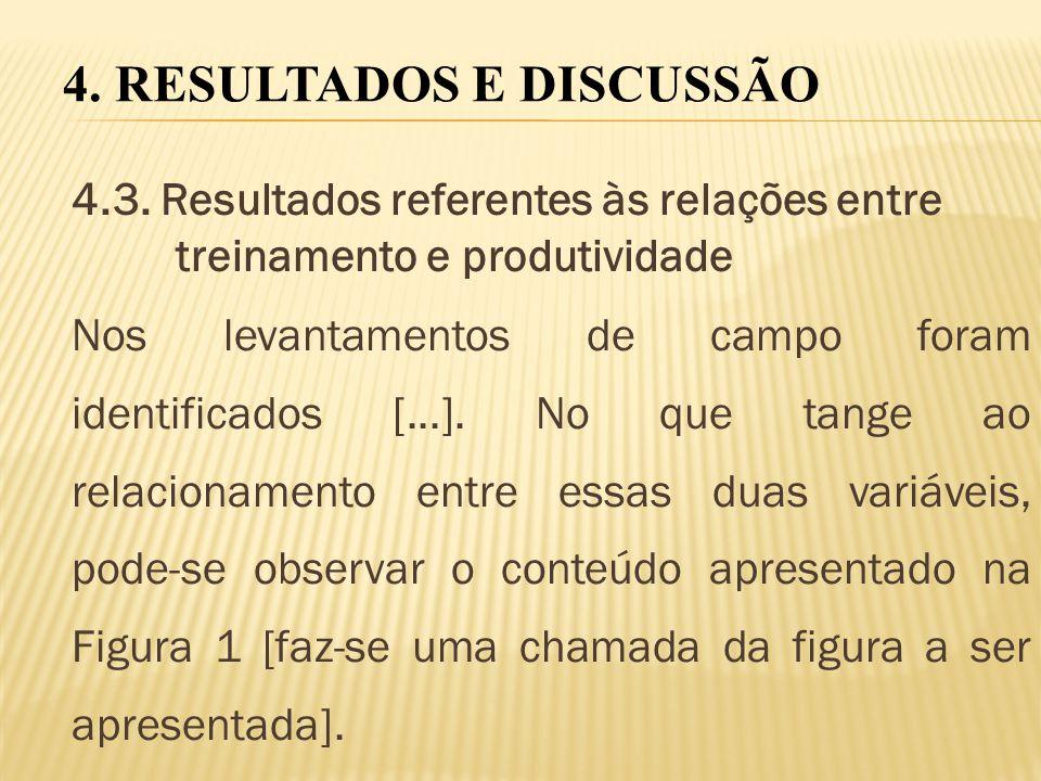 4.3. Resultados referentes às relações entre treinamento e produtividade Nos levantamentos de campo foram identificados [...]. No que tange ao relacio