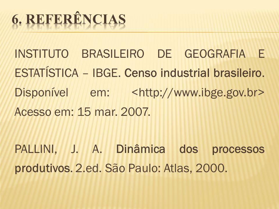 INSTITUTO BRASILEIRO DE GEOGRAFIA E ESTATÍSTICA – IBGE. Censo industrial brasileiro. Disponível em: Acesso em: 15 mar. 2007. PALLINI, J. A. Dinâmica d