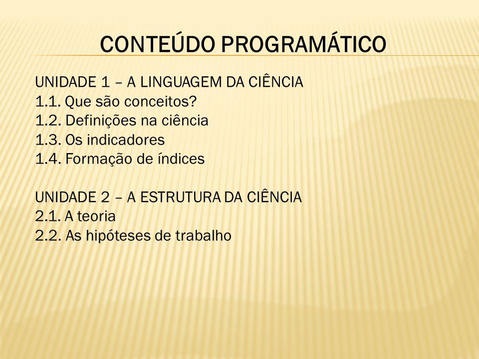 CONTEÚDO PROGRAMÁTICO UNIDADE 3 – LÓGICA DA CIÊNCIA 3.1.