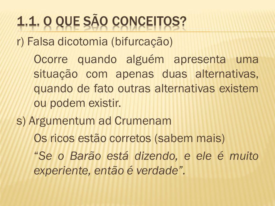 r) Falsa dicotomia (bifurcação) Ocorre quando alguém apresenta uma situação com apenas duas alternativas, quando de fato outras alternativas existem o