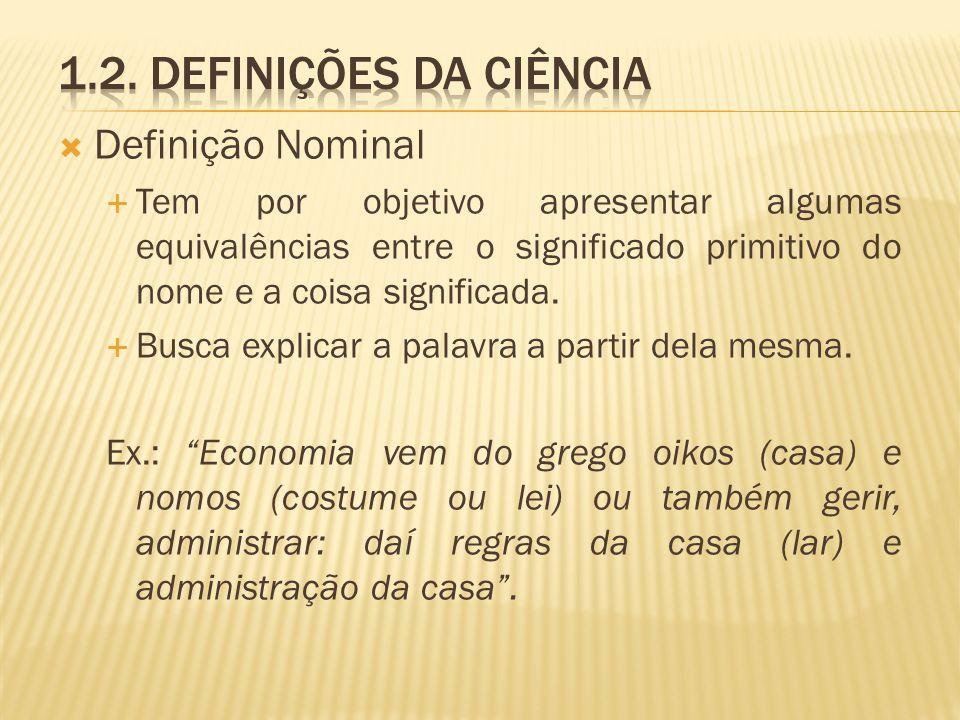 Definição Nominal Tem por objetivo apresentar algumas equivalências entre o significado primitivo do nome e a coisa significada. Busca explicar a pala