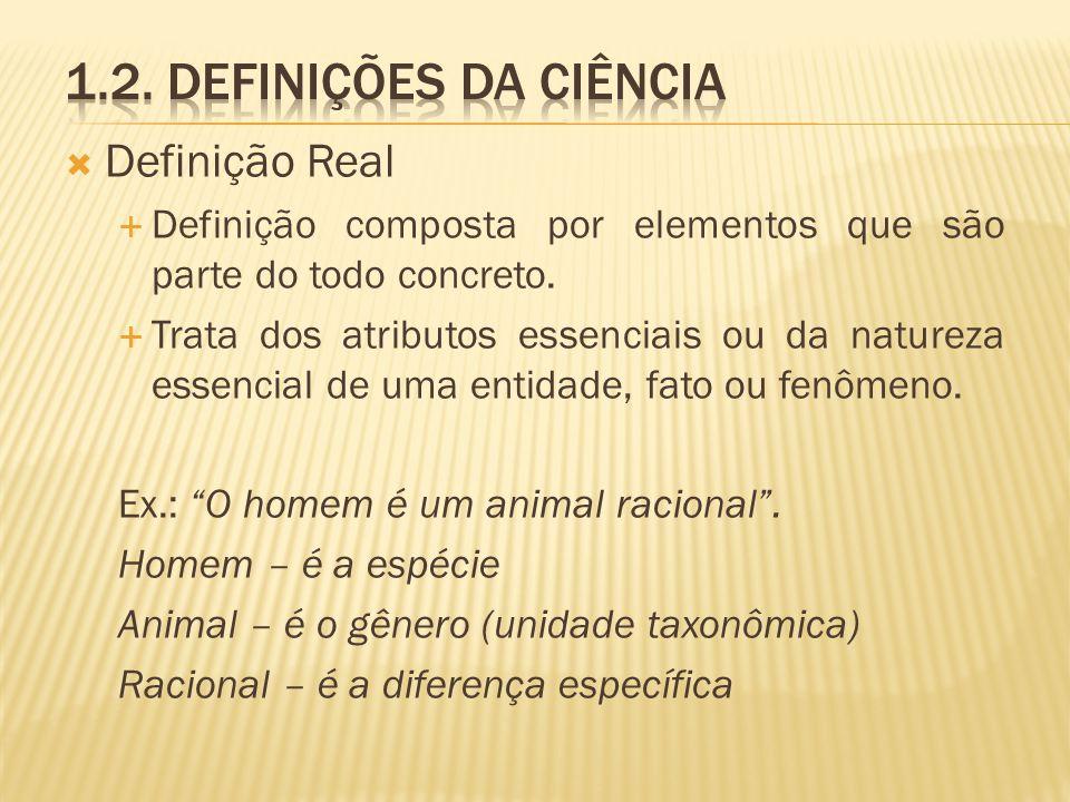 Definição Real Definição composta por elementos que são parte do todo concreto. Trata dos atributos essenciais ou da natureza essencial de uma entidad