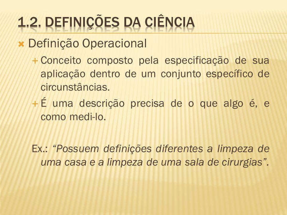 Definição Operacional Conceito composto pela especificação de sua aplicação dentro de um conjunto específico de circunstâncias. É uma descrição precis
