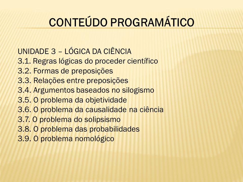 CONTEÚDO PROGRAMÁTICO UNIDADE 3 – LÓGICA DA CIÊNCIA 3.1. Regras lógicas do proceder científico 3.2. Formas de preposições 3.3. Relações entre preposiç
