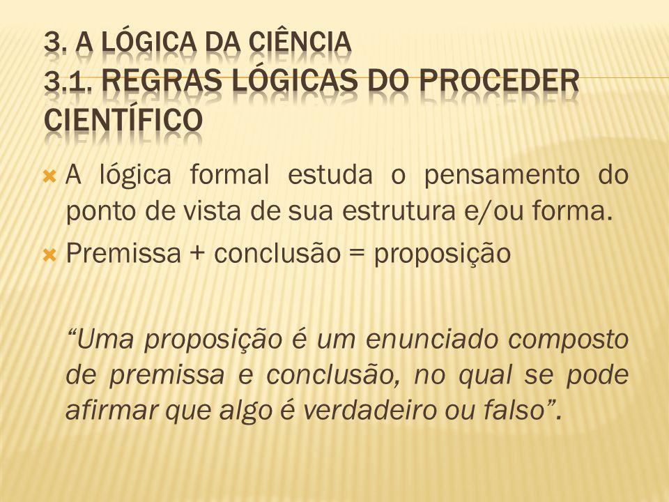 A lógica formal estuda o pensamento do ponto de vista de sua estrutura e/ou forma. Premissa + conclusão = proposição Uma proposição é um enunciado com