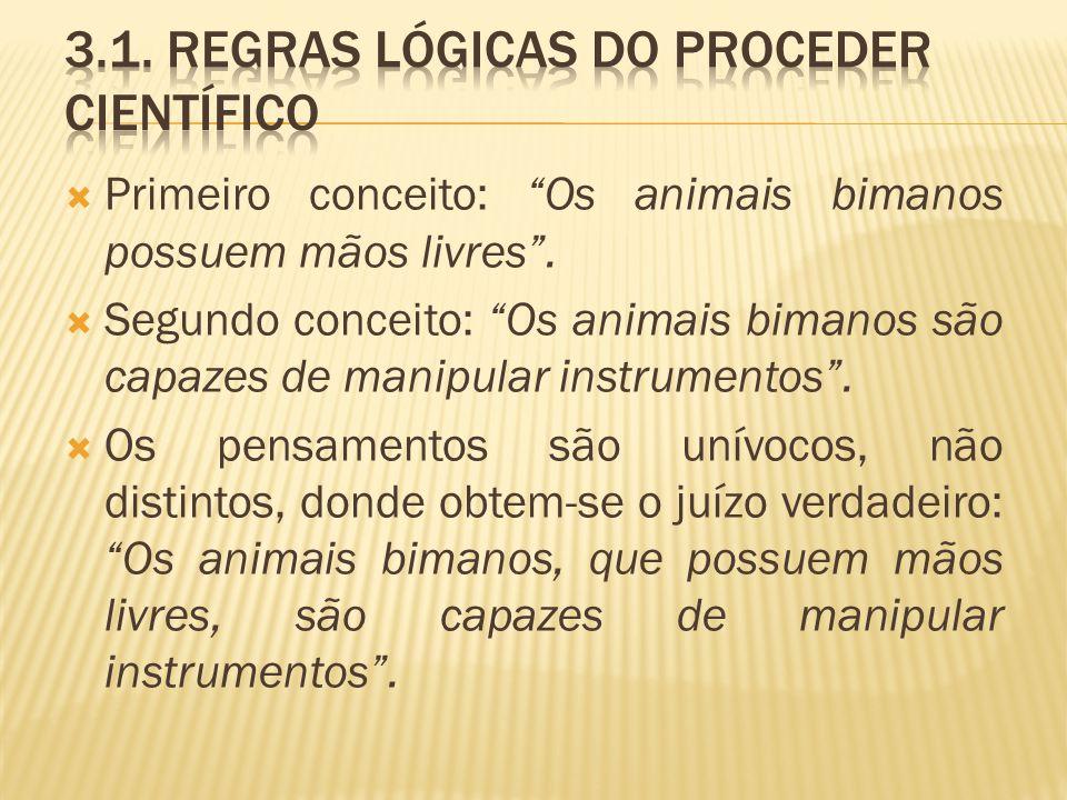 Primeiro conceito: Os animais bimanos possuem mãos livres. Segundo conceito: Os animais bimanos são capazes de manipular instrumentos. Os pensamentos