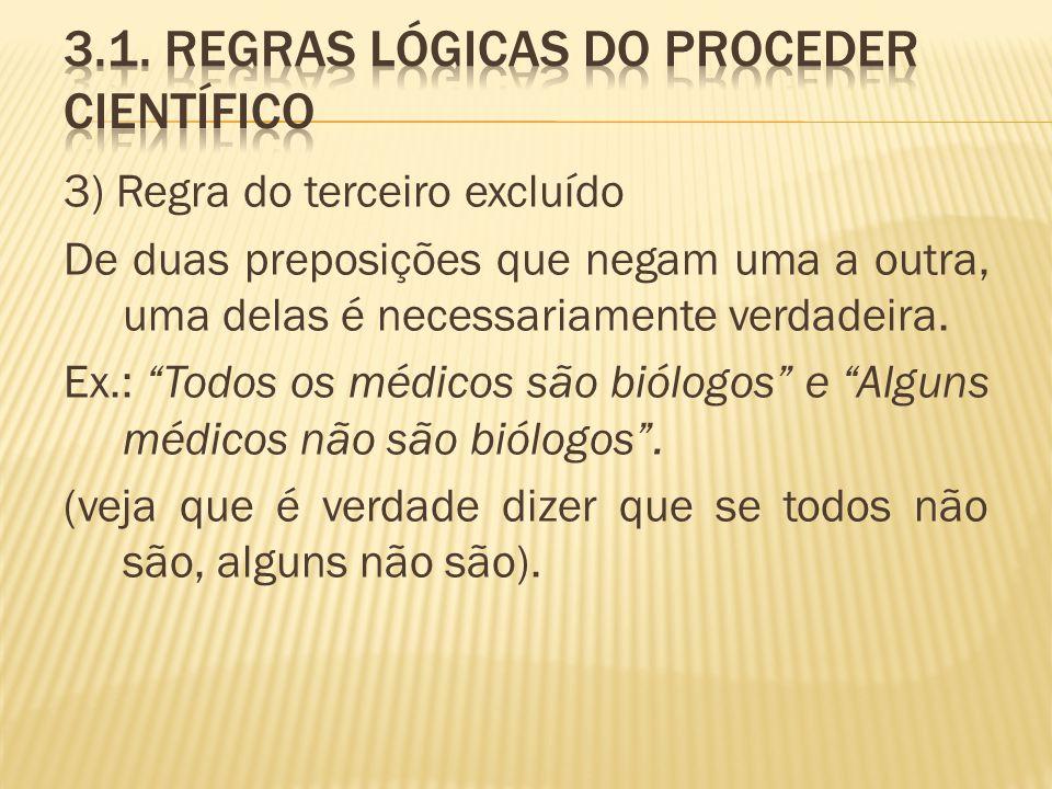 3) Regra do terceiro excluído De duas preposições que negam uma a outra, uma delas é necessariamente verdadeira. Ex.: Todos os médicos são biólogos e