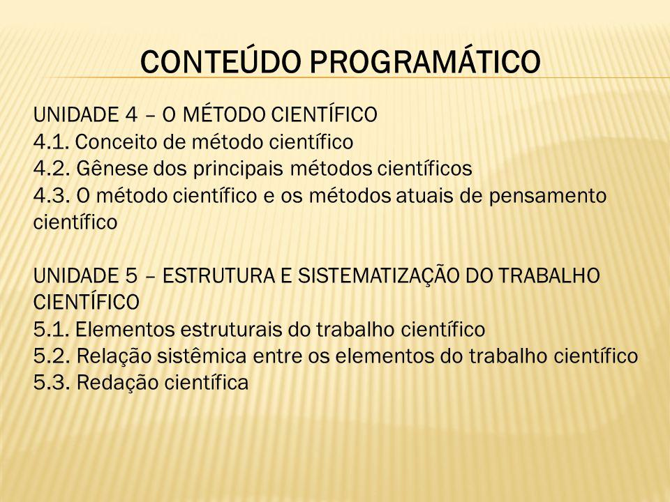 CONTEÚDO PROGRAMÁTICO UNIDADE 4 – O MÉTODO CIENTÍFICO 4.1. Conceito de método científico 4.2. Gênese dos principais métodos científicos 4.3. O método
