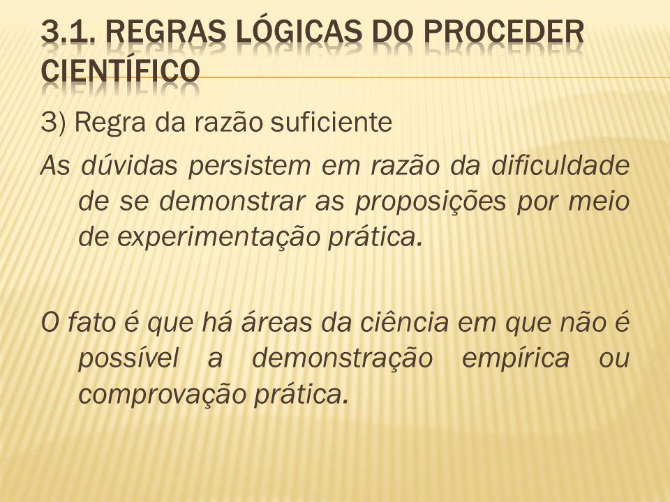 3) Regra da razão suficiente As dúvidas persistem em razão da dificuldade de se demonstrar as proposições por meio de experimentação prática. O fato é