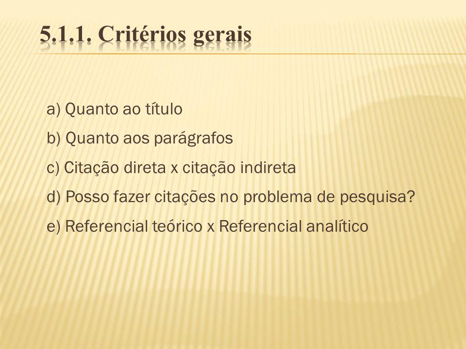 a) Quanto ao título b) Quanto aos parágrafos c) Citação direta x citação indireta d) Posso fazer citações no problema de pesquisa? e) Referencial teór