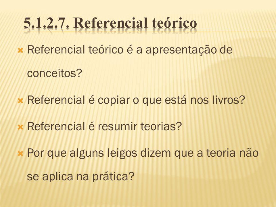 Referencial teórico é a apresentação de conceitos? Referencial é copiar o que está nos livros? Referencial é resumir teorias? Por que alguns leigos di