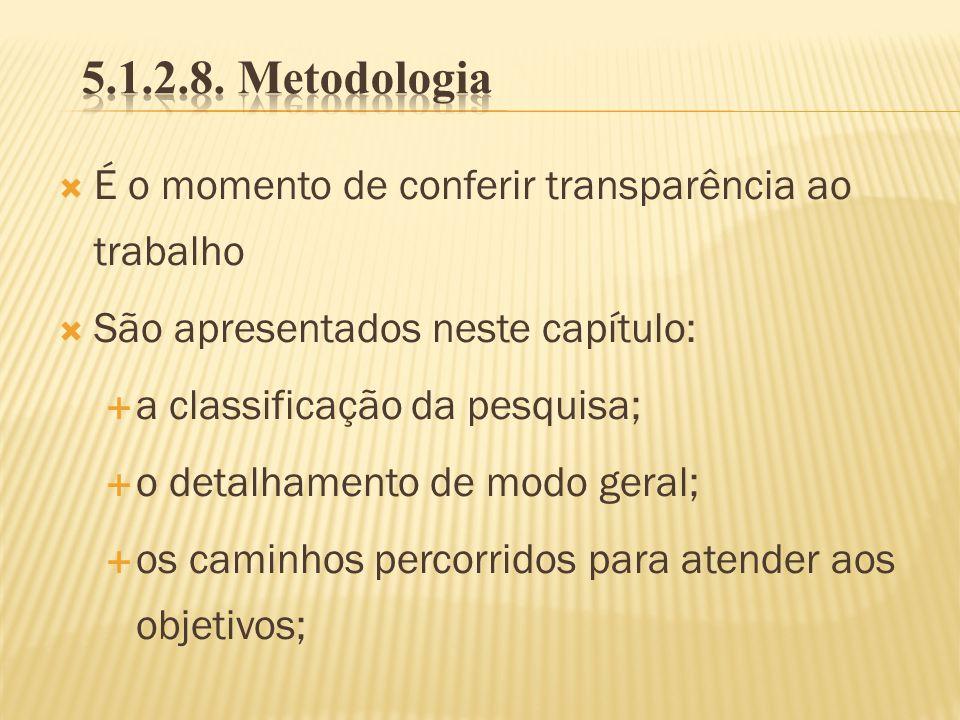 É o momento de conferir transparência ao trabalho São apresentados neste capítulo: a classificação da pesquisa; o detalhamento de modo geral; os camin