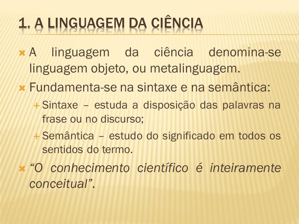 A linguagem da ciência denomina-se linguagem objeto, ou metalinguagem. Fundamenta-se na sintaxe e na semântica: Sintaxe – estuda a disposição das pala