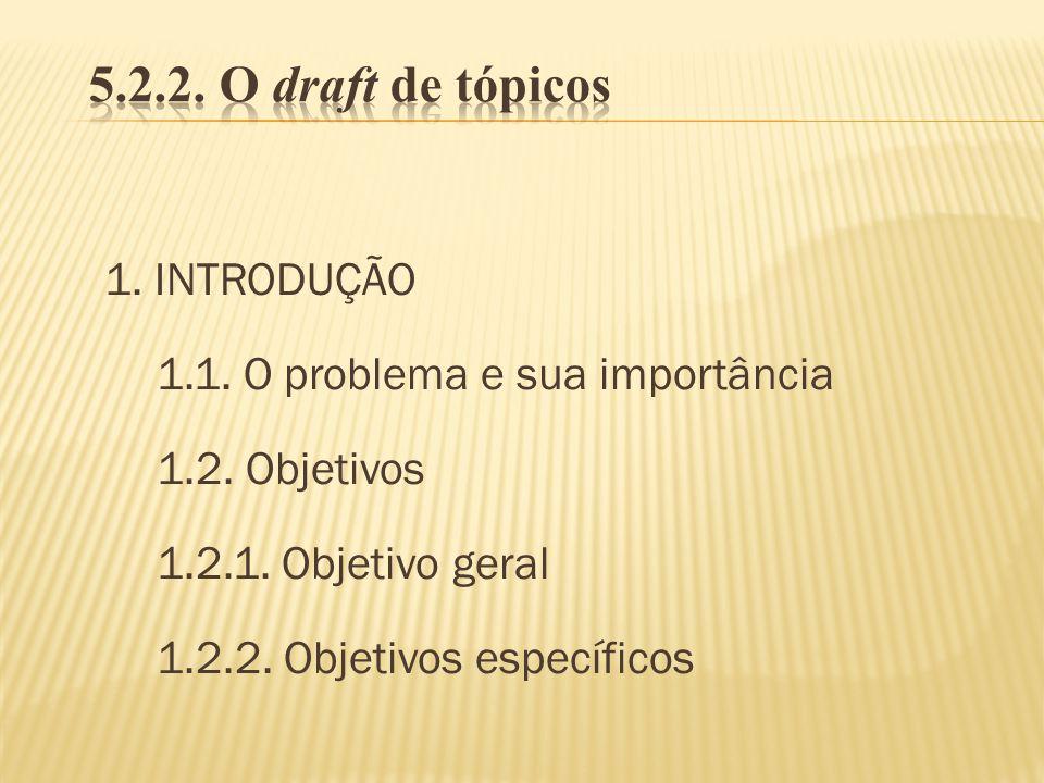 1. INTRODUÇÃO 1.1. O problema e sua importância 1.2. Objetivos 1.2.1. Objetivo geral 1.2.2. Objetivos específicos