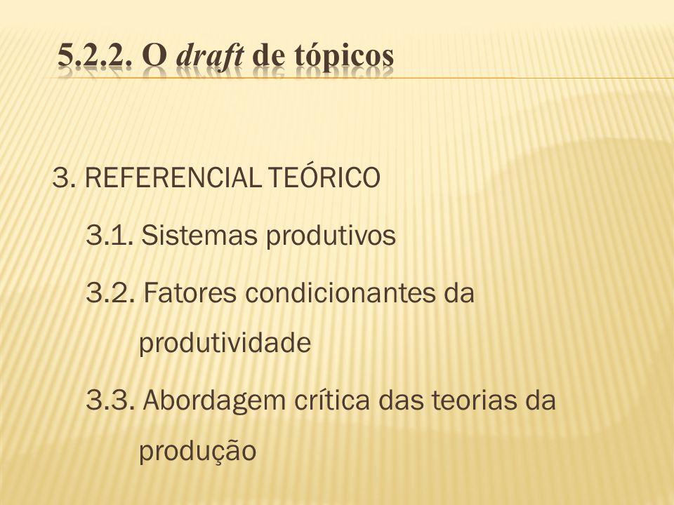 3. REFERENCIAL TEÓRICO 3.1. Sistemas produtivos 3.2. Fatores condicionantes da produtividade 3.3. Abordagem crítica das teorias da produção