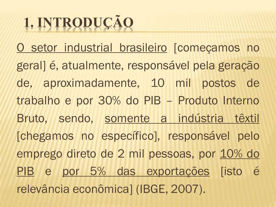O setor industrial brasileiro [começamos no geral] é, atualmente, responsável pela geração de, aproximadamente, 10 mil postos de trabalho e por 30% do