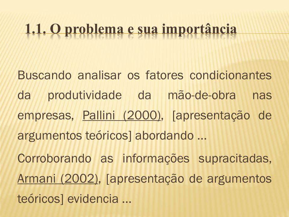 Buscando analisar os fatores condicionantes da produtividade da mão-de-obra nas empresas, Pallini (2000), [apresentação de argumentos teóricos] aborda
