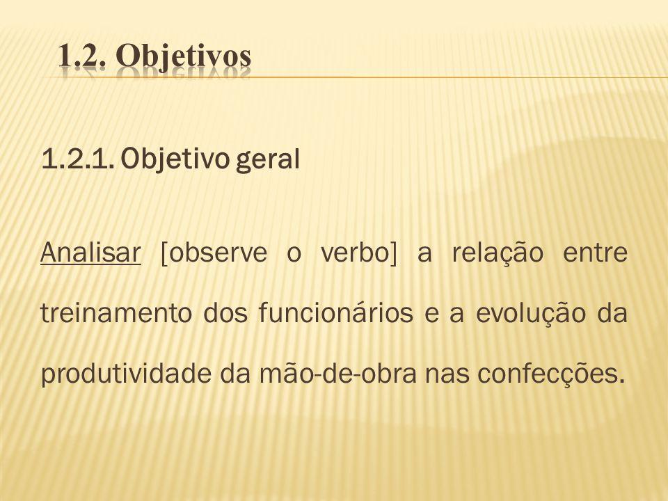 1.2.1. Objetivo geral Analisar [observe o verbo] a relação entre treinamento dos funcionários e a evolução da produtividade da mão-de-obra nas confecç