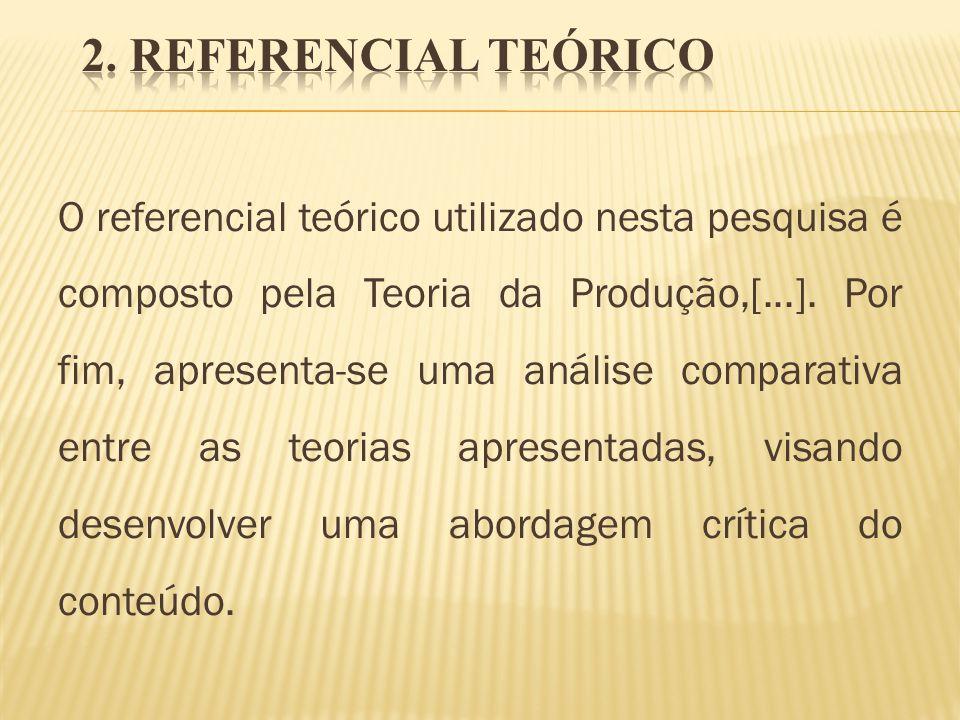 O referencial teórico utilizado nesta pesquisa é composto pela Teoria da Produção,[...]. Por fim, apresenta-se uma análise comparativa entre as teoria