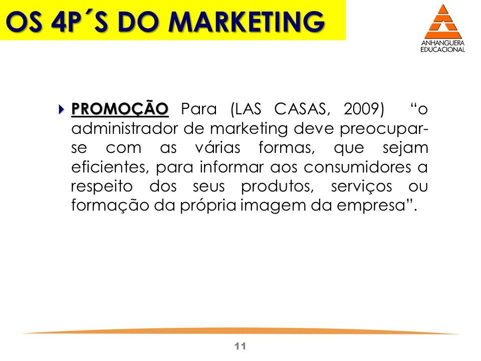 11 OS 4P´S DO MARKETING PROMOÇÃO PROMOÇÃO Para (LAS CASAS, 2009) o administrador de marketing deve preocupar- se com as várias formas, que sejam efici