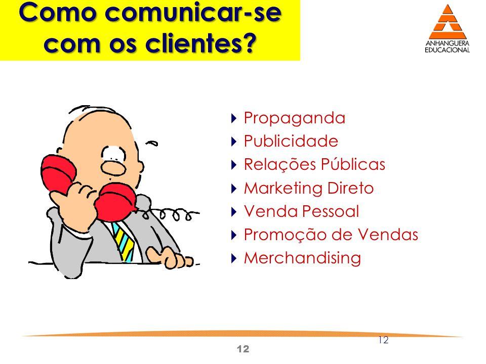 12 Como comunicar-se com os clientes? Propaganda Publicidade Relações Públicas Marketing Direto Venda Pessoal Promoção de Vendas Merchandising
