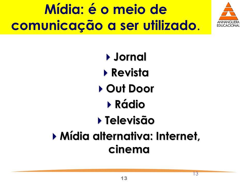 13 Mídia: é o meio de comunicação a ser utilizado. Jornal Jornal Revista Revista Out Door Out Door Rádio Rádio Televisão Televisão Mídia alternativa: