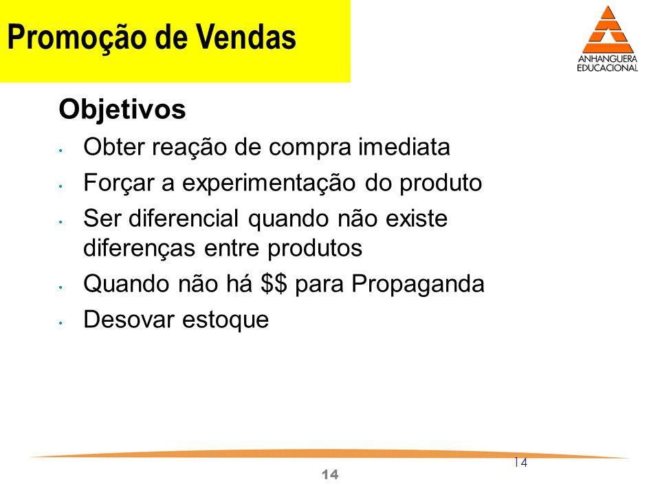 14 Promoção de Vendas Objetivos Obter reação de compra imediata Forçar a experimentação do produto Ser diferencial quando não existe diferenças entre