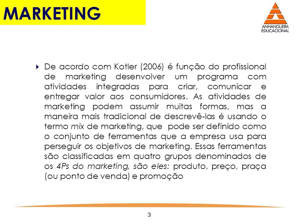 3 MARKETING De acordo com Kotler (2006) é função do profissional de marketing desenvolver um programa com atividades integradas para criar, comunicar