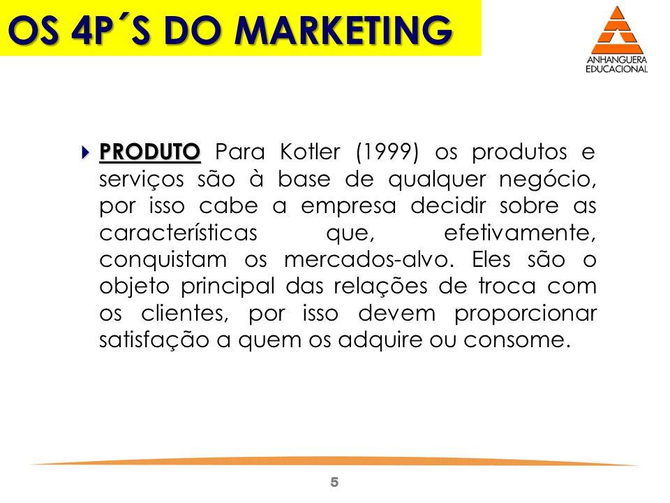 5 OS 4P´S DO MARKETING PRODUTO PRODUTO Para Kotler (1999) os produtos e serviços são à base de qualquer negócio, por isso cabe a empresa decidir sobre