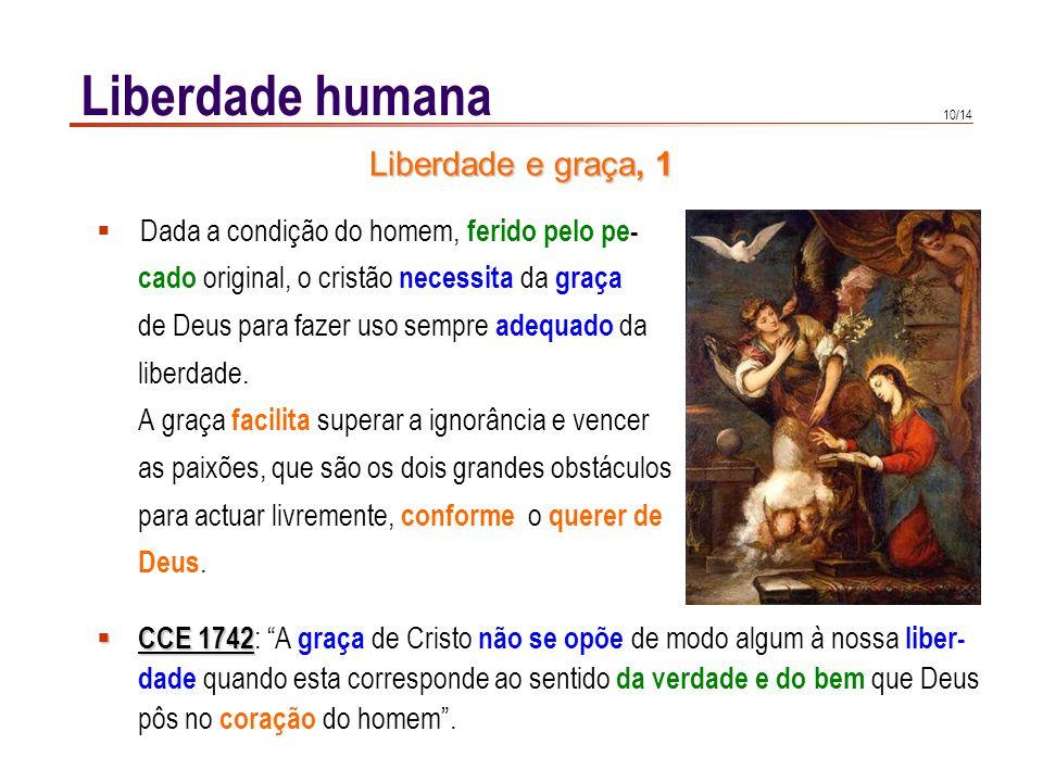 10/14 Liberdade humana Dada a condição do homem, ferido pelo pe- cado original, o cristão necessita da graça de Deus para fazer uso sempre adequado da
